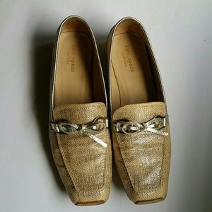 Kate Spade Metallic Burlap Loafers Size 9